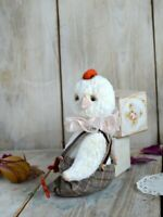 Little stuffed teddy Chicken boy in Vintage Style. OOAK art doll