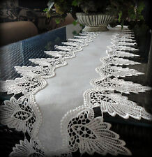 "Antique White Dresser Scarf 64"" Formal European Lace Mantel Scarf  Runner Doily"