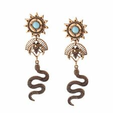 "Cobra earrings - Egypt, Sun, Snake, Pharoah theme  - posts - 3.54"" long"