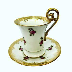 Antique T & V Limoges Demitasse Chocolate Cup Saucer Roses Higgins & Seiter