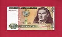 500 INTIS 1987 PERU UNC NOTE (P-134) Obv: Tupac Amaru II / Rev: Andes Mountains