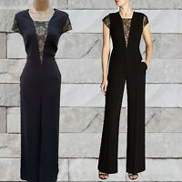 Size UK 14 Karen Millen Black Tailored Gold Lace All In One Jumpsuit Dress Up