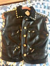 Original GIANNI VERSACE black leather vest gold studs fur collar Medusa jacket