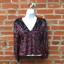 Vintage 90s Purple Velvet Burnout Top Shirt Womens Bell Sleeves (1536)