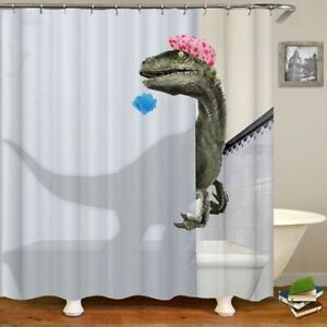 waterproof printed Bathing Dinosaur Print bathroom Shower Curtain Bathroom Decor
