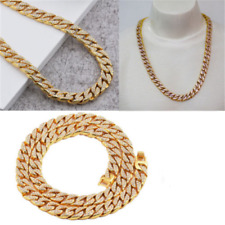 Gold Lab Diamond Cuban Chain Link Micropave Rose Iced Out Men Necklace AY