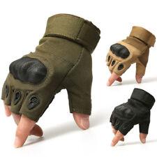 Guantes de Medio Dedo para Hombre Táctico Caucho Nudillo Duro Militar Sin Dedos