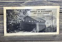 Vintage Ross County Ohio Map Lower Twin Road Covered Bridge Buckskin Creek 1964