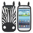3D Cute Animal Zebra Soft Silicone Back Case Cover For Samsung Galaxy S3 i9300
