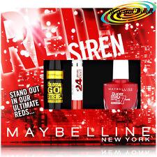 Maybelline RED SIREN Mascara Lipstick Nail Polish Xmas Gift Set For Her/Women