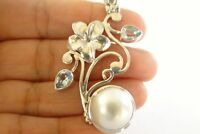 White Mabe Pearl Blue Topaz Flower Leaves 925 Sterling Silver Pendant