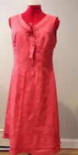 Oscar An Oscar de La Renta Company Coral Pink Embroidered Floral Dress Size 6 S