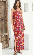 BNWT NEXT STRAPLESS RED FLORAL MAXI DRESS 12  ELASTICATED WAIST STRETCH  HOLIDAY