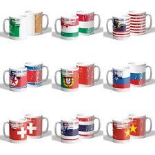 Country Flag Mug, Weathered Look Coffee Mug, Tea, Cup Ceramic World Flags10oz