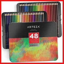 Arteza Professional Coloured Pencils Set of 48 Colours, Soft Wax-Based Cores, in