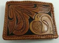 Vintage Leather Belt Buckle Hand Tooled Leaf Pattern, Stiched Edge