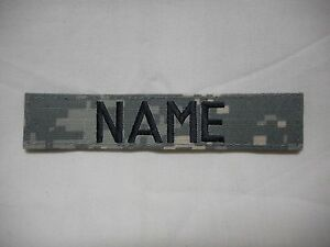 CUSTOM EMBROIDERED ACU NAME TAPE, NEW, 5 INCH LENGTH, WITH HOOK FASTENER*