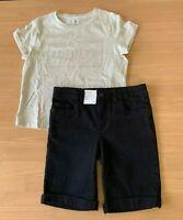 Girls size 8 Lumiere cotton t- shirt & black knee length denim shorts Target NEW