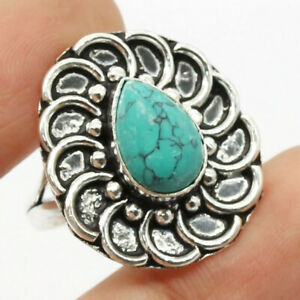 Turquoise 925 Silver Plated Handmade Gemstone Ring of US Size 8.75 Ethnic Gift