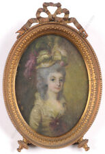 """""""Portrait of a young fashionable lady"""", French miniature on vellum, 18/19th c."""