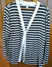 NWT Coldwater Creek Black & Off-White Striped Cardigan~LS~VNeck~XL~Supima Cotton