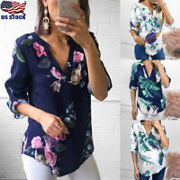 US Womens 3/4 Sleeve V-neck Floral Tops Ladies Summer Casual Blouse T-Shirt Tee