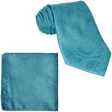 New Men's Polyester Woven Neck Tie necktie & hankie set paisley turquoise blue