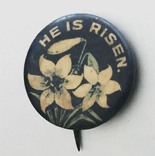 """New listing Antique Easter Theme Pin-Back Badge: """"He Is Risen"""""""