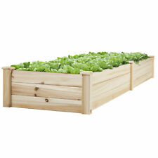BCP Wooden Raised Vegetable Garden Bed Patio Backyard Grow Flowers Planter