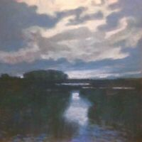 Moon Marsh Wetland Landscape OIL PAINTING ART IMPRESSIONIST Contemporary Realism