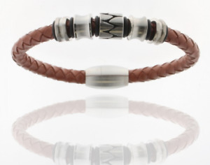 STORCH SCHMUCK Germany Bracelet Leather Braided Magnetic Closure Stainless Steel