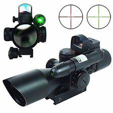 2.5-10X40 Tactical Rifle Scope w/ Green Laser & Mini Reflex 3 MOA Red Dot Sight