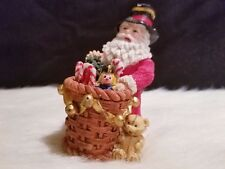 "Vintage Country Santa with Basket of Toys Figurine 4"" H x 3"" W x 3"" D"
