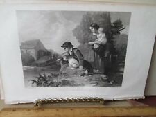 Vintage Print,LITTLE ANGLERS,Ladies Repository,c1857