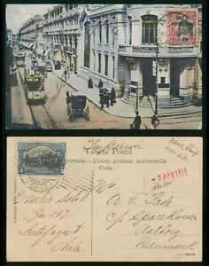 Mayfairstamps Chile 1911 Street Scene to Denmark Picture Postcard wwp72875