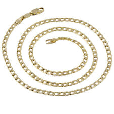 Aqx001-Mens Yellow Gold Filled Stainless Steel Cuban Link Chain Necklace 24""