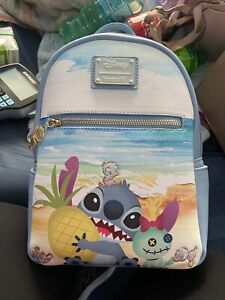 LOUNGEFLY STITCH BEACH MINI BACKPACK~ WITH TAGS~BRAND NEW~ BLUE~