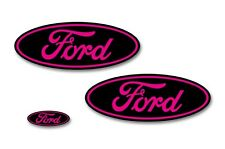 Front,Rear,Steering Wheel Vinyl Decals Oval Overlay For Ford F-150 15-17 BLK PK