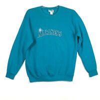 Vintage Seattle Mariners Crew Neck Sweatshirt CSA Mens L MLB Teal USA Made EUC