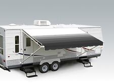 "18' Granite Stripe w/Wht W/G, RV Patio Awning Repl. fabric canopy (Fabric:17'2"")"
