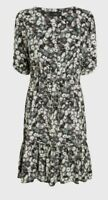 NEXT Black/White Floral.Fit And Flare Tie Waist.Tea Dress. Size 22. BNWT Summer
