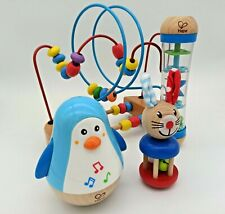 Set 4in1 Baby Holz Musikspielzeug Motorik Regenmacher, Pinguin, Glocken, Labiren