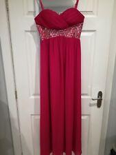 BNWT SOUSOURADA PINK DIAMANTE CHIFFON PROM DRESS BALL GOWN SIZE UK 10