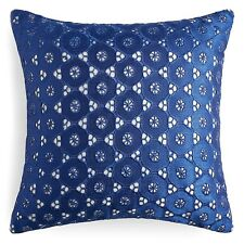 Sky Gardenia 16 in Square Blue Eyelet Decorative Pillow Bedding