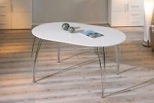 Tavolo allungabile, in mdf laccato bianco e metallo, 140x90 cm