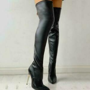 Womens  Over Knee Boots Stretch Pointed Toe High Heels Zip Shoes Thigh High