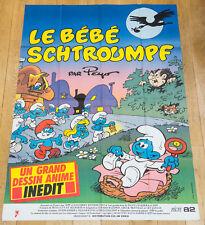 LE BÉBÉ SCHTROUMPF Affiche cinéma 120X160 DESSIN ANIMÉ,  HANNA BARBERA