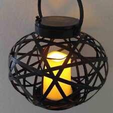 Metal Rattan Oval Solar Lantern Illuminate LED Candle Light Garden Decoration
