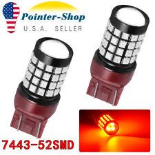 2x RED 7443 7440 52-SMD Brake Tail Light/Parking LED Light Bulbs 12V-24V