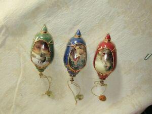 2001BRADFORD EDITIONS 3 Fine Christmas Porcelain Ornaments by Greg Olsen!